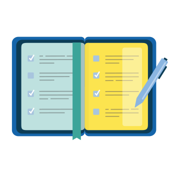 Notebook icon showing a safety professional's long to-do list