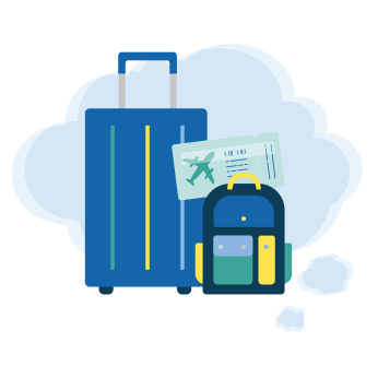 Blue suitcase and backpack icons with a map showing a safety professional's travel plans